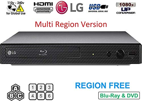 Lowest Price! LG BP Region Free Blu-ray Player, Multi Region 110-240 Volts, Dynastar 6 Foot HDMI Bun...