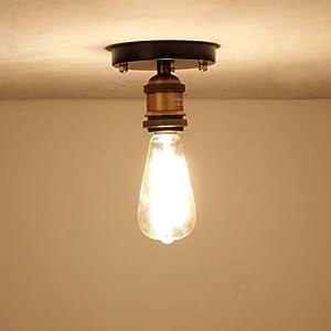 Cozyle Luce di soffitto di stile industriale epoca senza paralume