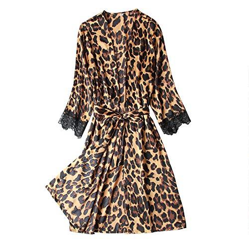 FPXNBONE Camisn Mujer Sexy AlgodnPijama Fino de Verano, Bata de Seda Helada, Bata de Leopardo Sexy-M,Encaje con Cordn Pijamas Femenina Hot