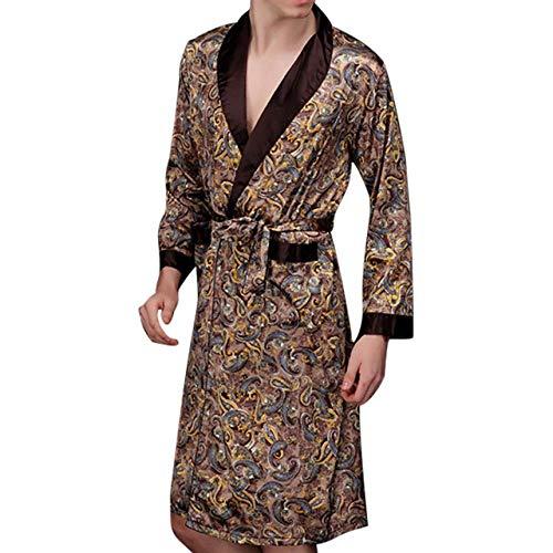 Hombres Albornoz Hombres Simulación Seda Estampado Pijamas