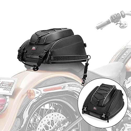 Motorcycle Tail Bags, Seat Luggage Bags, Travel Saddle Bags for Sportster Dyna Softail Touring Models with Rain Cover and Straps, Multifunctional, Black
