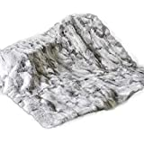Natural Real Luxury Rabbit Fur Rug Throw Blanket Rug Patchwork Skin Fur Rug Soft Premium Quality Durable Thick & Lush Grey (55in×63in)