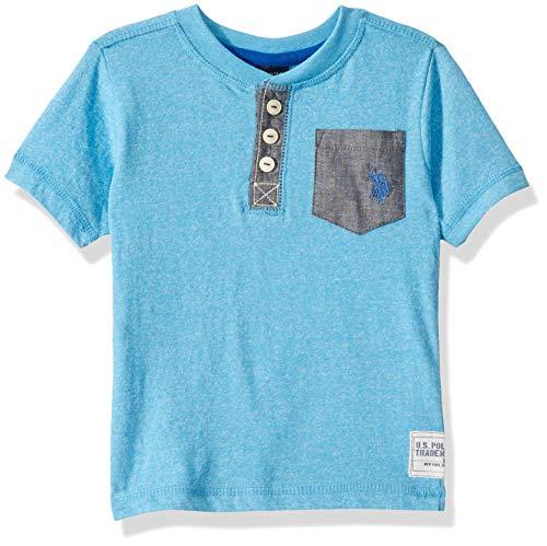U.S. Polo Assn. Boys' Big Short Sleeve Henley T-Shirt, Marbled Jersey Chambray Pockets Marled Coast Azure, 18