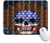 NIESIKKLAマウスパッド 葉巻タバコと頭蓋骨の葉米国 ゲーミング オフィス最適 高級感 おしゃれ 防水 耐久性が良い 滑り止めゴム底 ゲーミングなど適用 用ノートブックコンピュータマウスマット
