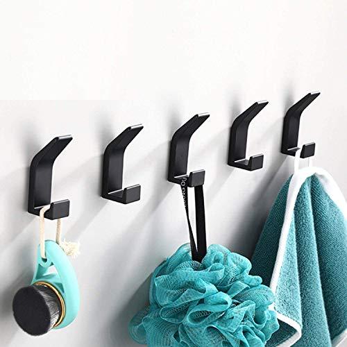 5 Piezas Ganchos Adhesivos Para Pared, Perchas Baño sin taladro, Gancho Pared, Gancho Toallero Puerta, Colgadores Adhesivos Adecuado para Baños, Dormitorios, Cocina.(Negro)