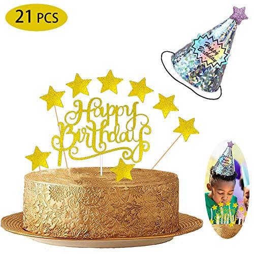 BOYATONG Golden Geburstagstorte Deko Tortendeko Happy Birthday Girlande Herze Sternen Cake-Topper Kuchen Aufsätze für Mädchen Frauen & Junge