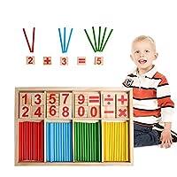 Set di giocattoli matematici: i set di giocattoli in legno contengono 5 personaggi matematici e numeri da 0 a 9, per un totale di 24 blocchi e 46 bastoncini di conteggio. Aiuta il tuo bambino a comprendere colori, numeri e semplici calcoli matematici...