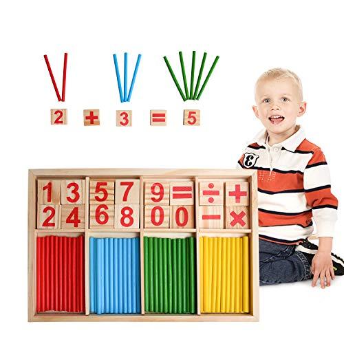 EKKONG Montessori Mathe Spielzeug, Zählstäbchen Montessori, Holz Spielzeug für Kinder, Zahlenlernspiel, Pädagogisches Mathe-Spielzeug ab 3 Jahre