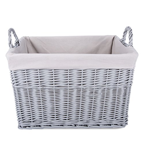 Home Storage Grey Painted Rectangule Wicker Basket Laundry Toys Baby Nursery Collection Box (Large)