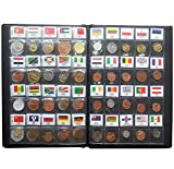 Coins Collection Starter Kit 60 Countries Coins 100% Original Genuine World Coin with Leather Collecting Album Taged by Country Flags and Name