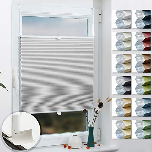 Grandekor Wabenplissee nach Maß Klemmfix ohne Bohren, Thermoplissee für Fenster & Tür, 100{8646c12267f3f06d7f729e73292eb7378c5264c9fe73001c8d085cba8b95d4be} Verdunkelung Sonnen-, Sicht- & Schallschutz Wärmeisolierung (Weiß-Weiß, 45x130cm (BxH))