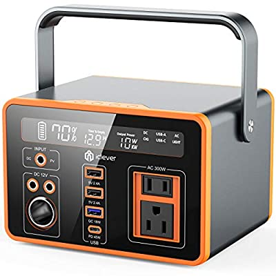 Portable Power Station, iClever 300W/81080mAh Camping Outdoor Solar Generator for Home Use, CPAP Backup Battery with QC3.0 &Type C SOS Flashlight, Wireless Charger for Outdoor Camping Travel Emergency