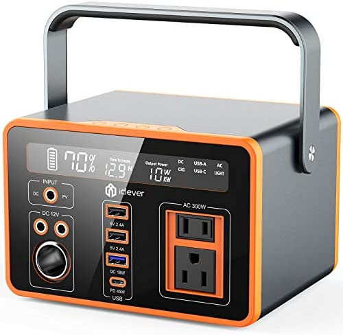 Portable Power Station iClever 300Wh 81080mAh Camping Outdoor Solar Generator 110V AC 3 DC Ports product image