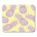 25X30cm Gaming Mauspad Mouse Mat Dessert gezeichnet rosa gelb wei Ananas Skizze Tropische exotische Frucht Ananas Dit