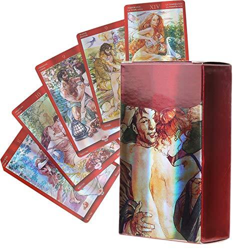 Baraja de Cartas del Tarot Tarjeta de Adivinación del Destino para Adultos Juego de Predicción del Futuro Fiesta en Casa Juego de Cartas de Mesa Exquisito Accesorio de Regalo para NiñOs(3.9 x 2.2in)