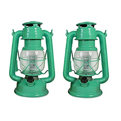 NORTH POINT Northpoint Vintage Style Hurricane Lantern with 12 LED's and 150 Lumen Light Output and Dimmer Switch, Battery Operated Hanging Lantern for Indoors and Outdoor Usage - Pack of 2