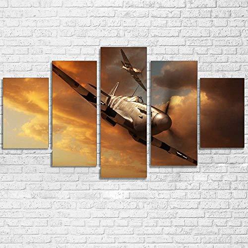 KOPASD Impresión de Lienzo de Pared Arte Imagen,Historia de la aviación de Aeroplano de Spitfire Pintura RomáNtica De Arte para Sala De Estar Dormitorio,100x55cm 5 Piezas