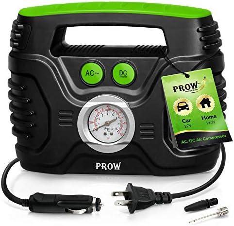 Prow Portable Air Compressor Tire Inflator AC DC Electric Pump for Car DC 12V Home AC 110V Upscale product image