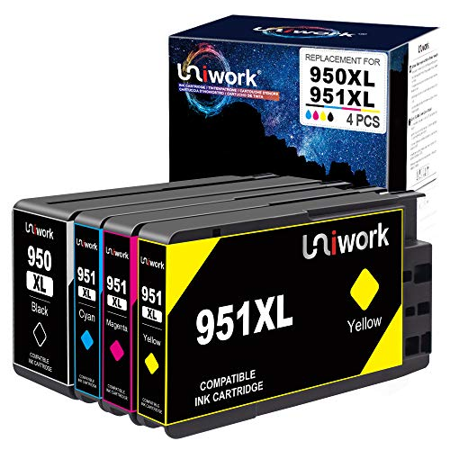 Uniwork 950 XL 951 XL Druckerpatronen Kompatibel für HP 950XL 951XL für HP Officejet Pro 8610 8600 8615 8620 8100 251dw 276dw 8625 8630 8640 8660 (1 Schwarz 1 Cyan 1 Magenta 1 Gelb)