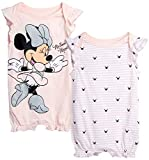Disney Baby Girls Romper 2 Pack: Minnie Mouse Ruffle Sleeve Romper (Newborn/Infant), Size 3-6 Months, Baby Pink Minnie/Baby Pink Heart Stripes