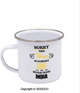 SCOCICI Unique Design Print Enamel Cup Sorry This Woman Is Already Gone To Super Good India Coffee Mug Stainless Steel Enamel Tea Cup White 12 oz