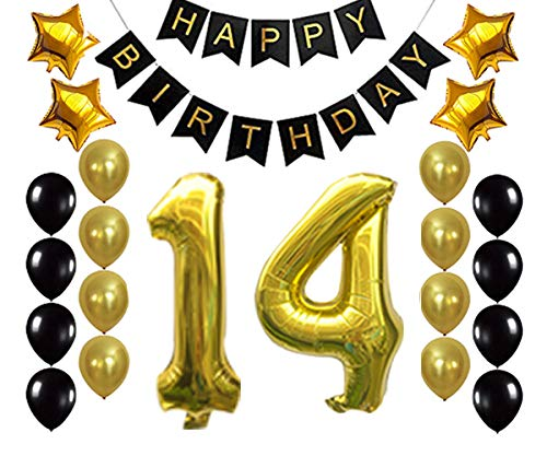 Gold 14th Birthday Decorations Balloon Banner - Happy Birthday Banner, 14 Gold Number Balloons, Gold and Black Balloons, 14 Years Old Birthday Decoration Supplies Fancy