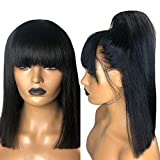 Maylas Short Bob with Bang Non Lace Front Wig Human Hair Straight 150% Density for Black Women Brazilian Virgin Non Lace Front Bob Wig Pre Plucked with Baby Hair Glueless 100% Human Hair Wigs 14Inches …