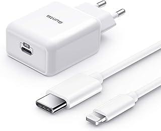 Quntis 18W Cargador Rapido de iPhone+ 1.8M USB C a Lightning Cable, Certificado MFi Tipo C Adaptador de Corriente USB con QC 3.0 y PD 3.0 para iPhone SE 2020 11 11Pro X XR XS MAX 8 Plus iPad Pro