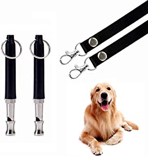 HEHUI Dog Whistle to Stop Barking, Adjustable Pitch Ultrasonic Training Tool Silent Bark Control for Dogs- Pack of 2 PCS Whistles with 2 Free Lanyard Strap