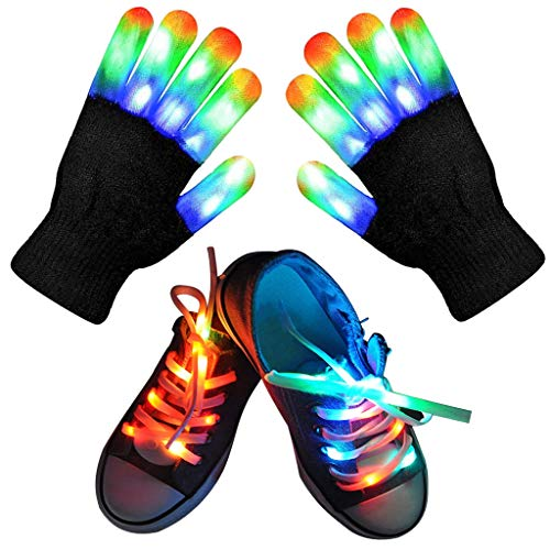 Led Finger Gloves, Kids Led Gloves LED Shoelaces Set Light Up Cool Toys Gifts for Boys Girls, Flashing Gloves for Christmas Thanksgiving Birthday Glow Halloween Costume Party