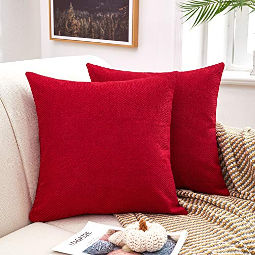 MERNETTE Pack of 2, Chenille Soft Decorative Square Throw Pillow Cover Cushion Covers Pillowcase, Home Decor Decorations for Sofa Couch Bed Chair 18x18 Inch/45x45 cm (Red)