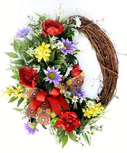 Spring-Summer Vibrant Floral Grapevine Wreath