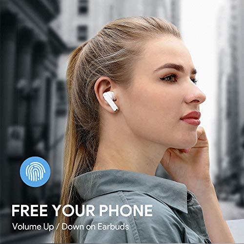 Auriculares Inalámbricos, Auriculares Bluetooth 5 Sonido Estéreo, Reproducci 20 Horas, Estéreo internos con indicador de batería, Micrófono Incorporado, Control Táctil, IPX5