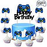 Kauayurk Video Game Party Cake Topper Decoration Supplies, 25pcs Gaming Theme Party Cake Topper for Boys, Video Game Controller Birthday Cupcake Topper Decor Sign