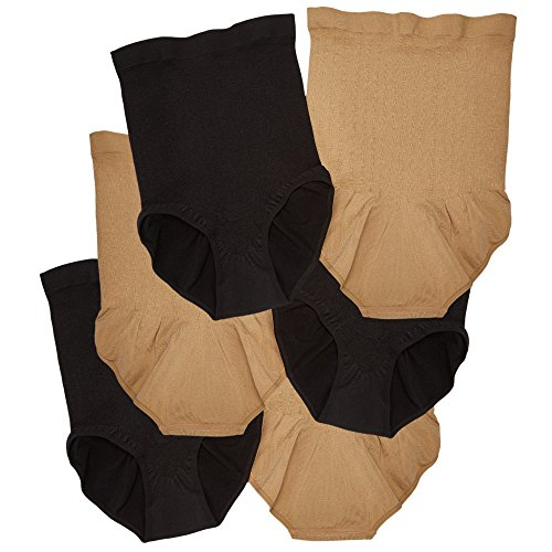 Tristar Products Inc Slim Panties 360 6 Pack 3 Black/3 Nude (Large)