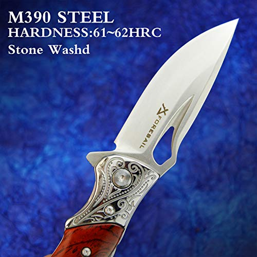 FORESAIL Folding Knife,3.75'' M390 Blade and Rosewood Handle Outdoor Folding Knife Ball Bearing Quick Opening Structure, with Metal Pocket Clip for Camping Hiking Travel Tactical EDC