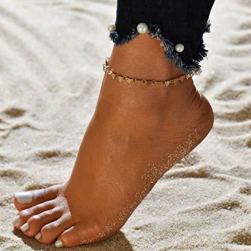 JEFEYI Tobillera de Playa Conjunto de Pulsera de Tobillo Bohemio, Cuentas Multicapa, Colgante de Diamantes de imitación, Pulsera con dijes, joyería de pie gramo para Mujer, regalo-50202