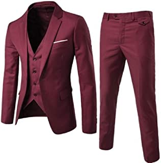 Sayah Mens Casual Bussiness Wedding Classic Vested Dress Suit Set Blazer Jacket Pants