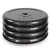 FGVDJ Placas de Discos de Peso olímpico de 4 Piezas, Placas de Hierro Negro estándar de 1 Pulgada / 25 mm para Levantamiento de Pesas, Equipos de Gimnasio en casa, hi