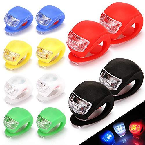 QUMENEY 12PCS Fahrradbeleuchtungsset aus Silikongehäuse, wasserdichtes LED-Fahrradlicht zum Aufstecken, Fahrradbeleuchtung vorne und hinten für Fahrradsicherheit (6 Farben)