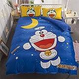 THAVASAM Doraemon - Juego de ropa de cama con diseño de dibujos animados, funda nórdica y funda de almohada para niños, suave ropa de cama doble, diseño de rey reina (buena noche 6, 155 x 220 cm)