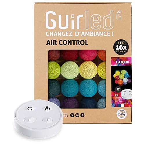 Arlequin - Guirnalda luminosa con bolas de algodón LED USB, mando a distancia inalámbrico, 2 horas, adaptador de red doble USB 2A incluido, 4 intensidades, 16 bolas de 3,2 m