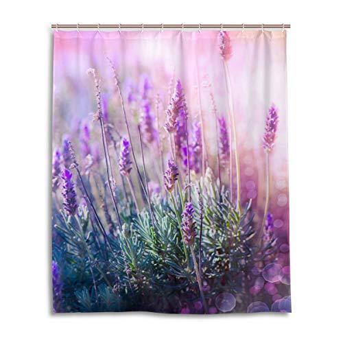 LUPINZ Duschvorhang mit Lavendel & Blumen, wasserdicht, 152,4 x 182,9 cm
