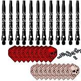 ToBeIT Dart shafts schwarz Dartpfeil-Schäfte Dart Flights Dartzubehör (schwarz 12pcs)