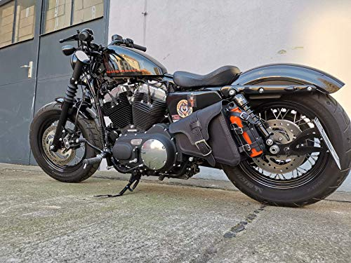Orletanos EOS Noir Poche Latérale Compatible avec Harley Davidson Sportster Cuir Noir Quarante Huit Garde-Boue Iron Lowrider XL HD Porte-Bouteilles Mauvais Côté
