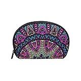 TIZORAX - Bolsa de cosméticos tribal vintage étnica floral para viajes, práctica bolsa de maquillaje para mujeres y niñas