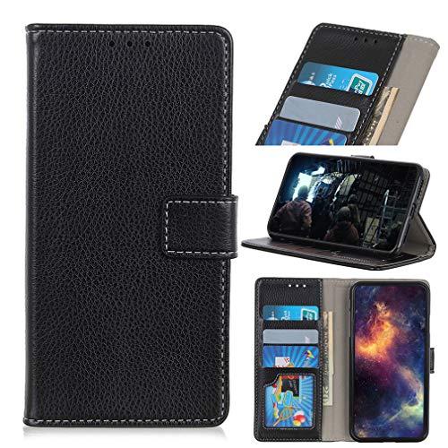 LMFULM® Hülle für LG V60 ThinQ 5G (6,8 Zoll) PU Leder Magnet Brieftasche Lederhülle Litchi Muster Stent-Funktion Ledertasche Flip Cover Schwarz