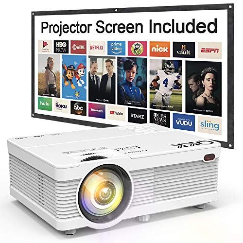 "QKK Mini Projector 6500Lumens Portable LCD Projector [100"" Projector Screen Included] Full HD 1080P Supported, Compatible with Smartphone, TV Stick, Games, HDMI, AV, Projector for Outdoor Movies"