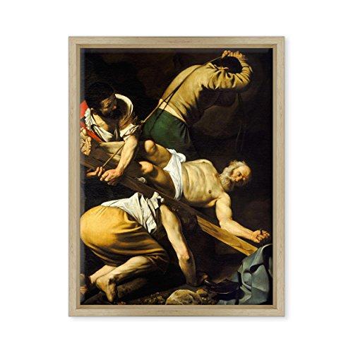 Tableau sur toile avec cadre – Caravage – Michelangelo Merisi – Croission de Saint-Pietro – 1600 – 30 x 40 cm – Style moderne bois naturel – (code 1137)