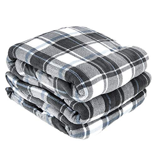 Biddeford Queen Electric Blanket, Gray Plaid